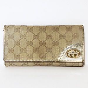 Gucci monogram canvas and leather long wallet